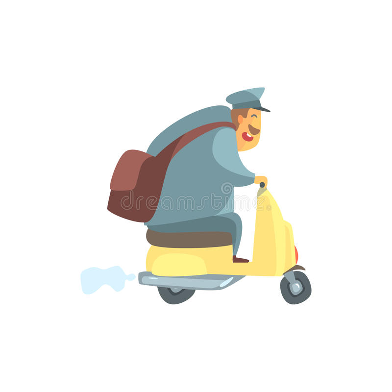 Chubby Postman On Small Scooter vektor illustrationer