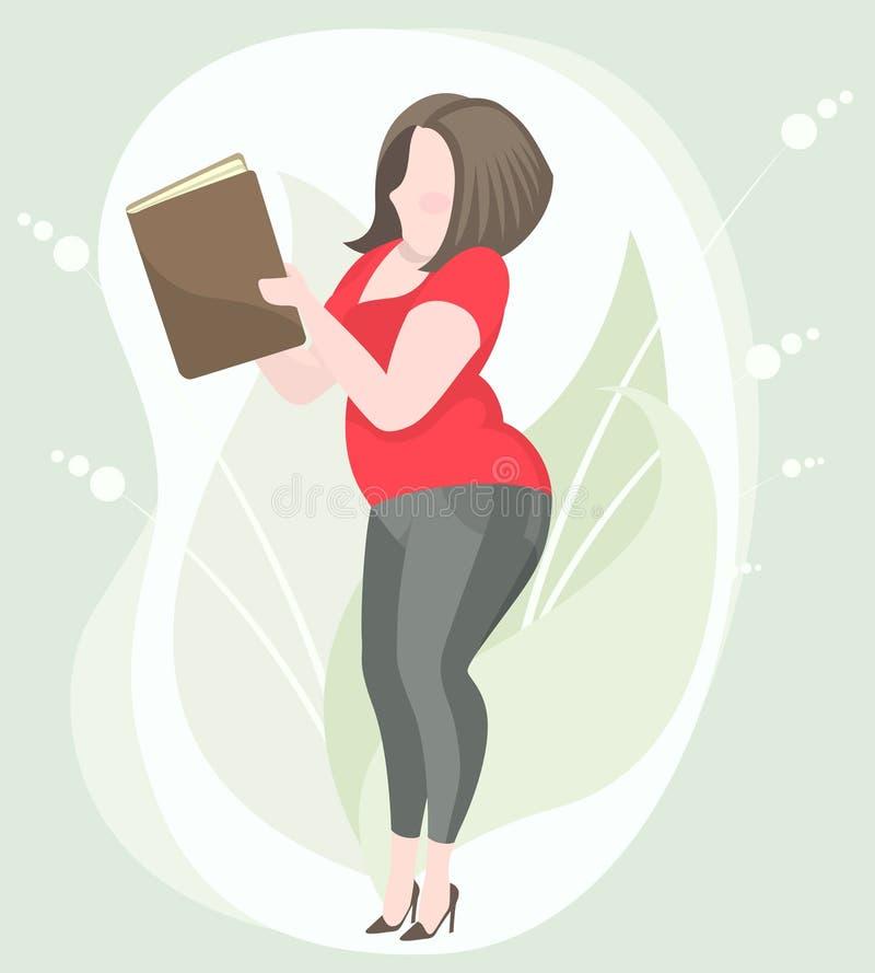 Chubby woman reading a book stock photos