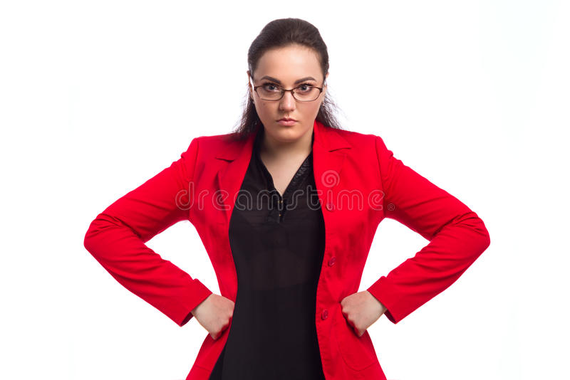 Chubby Woman In Red Jacket royaltyfri foto