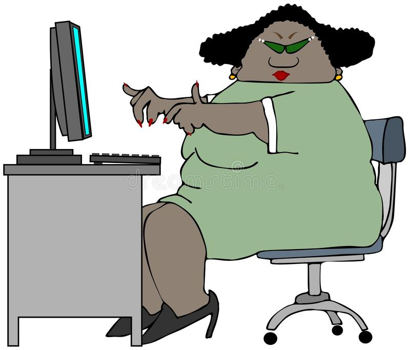 Chubby woman sitting at a desk. This illustration depicts a chubby black woman sitting at a desk with a computer and keyboard vector illustration