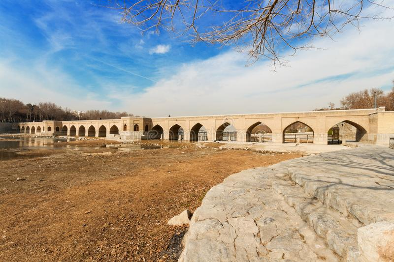 Chubi Bridge in winter seasonm, Isfahan City, Central Iran, Persia. stock images