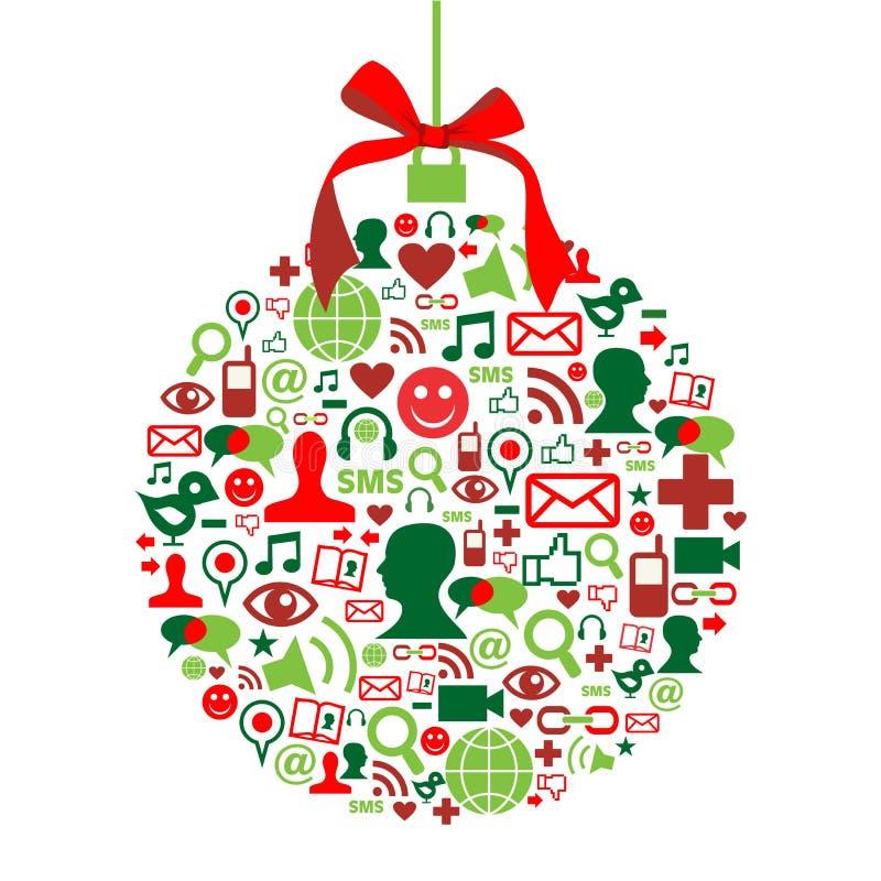 Chuchería de la Navidad con los iconos sociales de los media