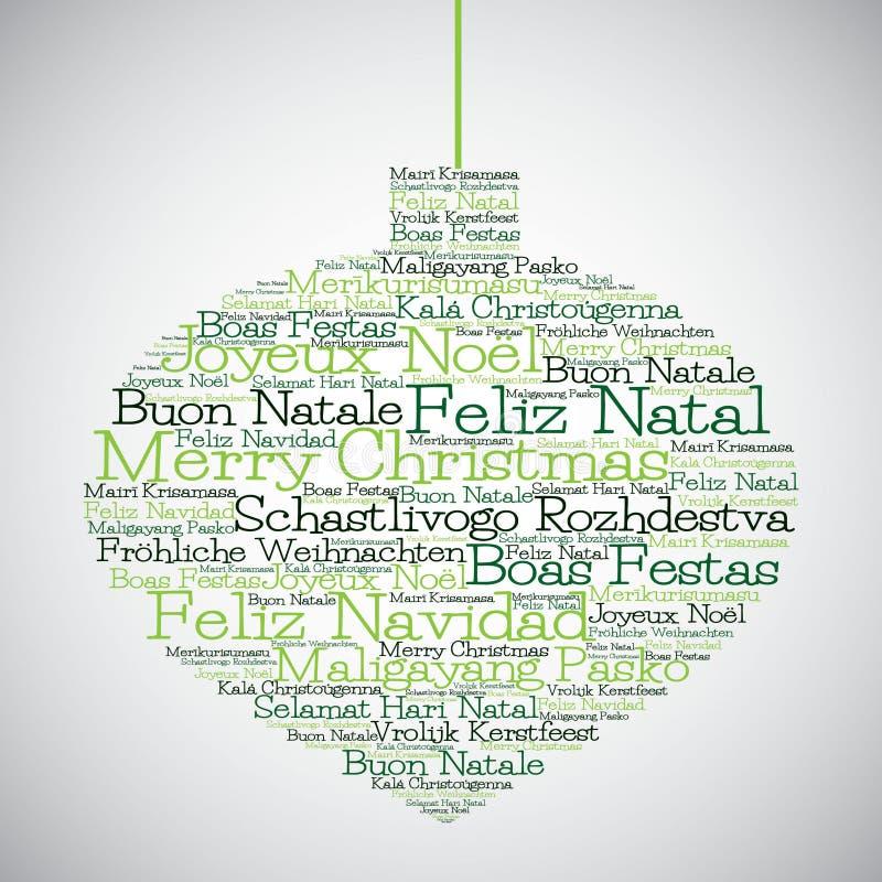 Chuchería de la Navidad hecha de Feliz Navidad en otros idiomas ilustración del vector