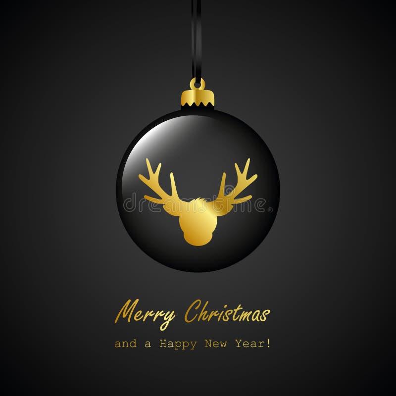 Chuchería negra de la Navidad con la tarjeta de felicitación de oro de la Feliz Navidad del reno libre illustration