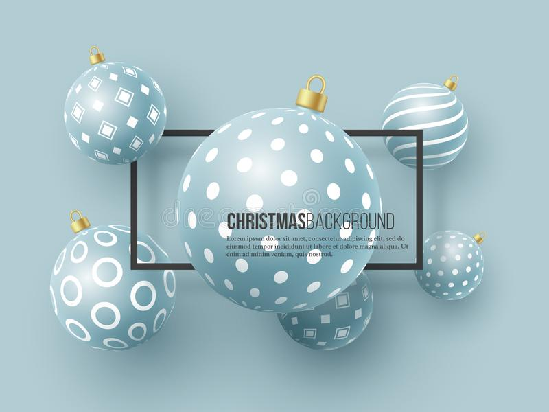 Chucherías azules de la Navidad con el modelo geométrico estilo realista 3d con el marco negro, fondo abstracto del día de fiesta stock de ilustración