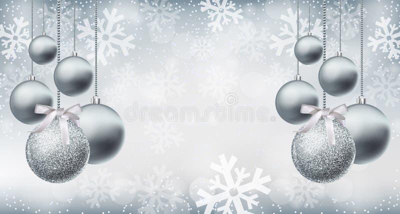 Chucherías brillantes de plata del brillo en el vector del fondo de los copos de nieve realista Tarjeta de plata de las decoracio stock de ilustración