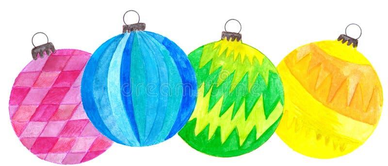 Chucherías pintadas a mano de la Navidad de la acuarela stock de ilustración