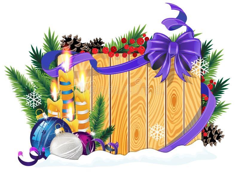 Chucherías y velas de la Navidad en fondo de madera libre illustration