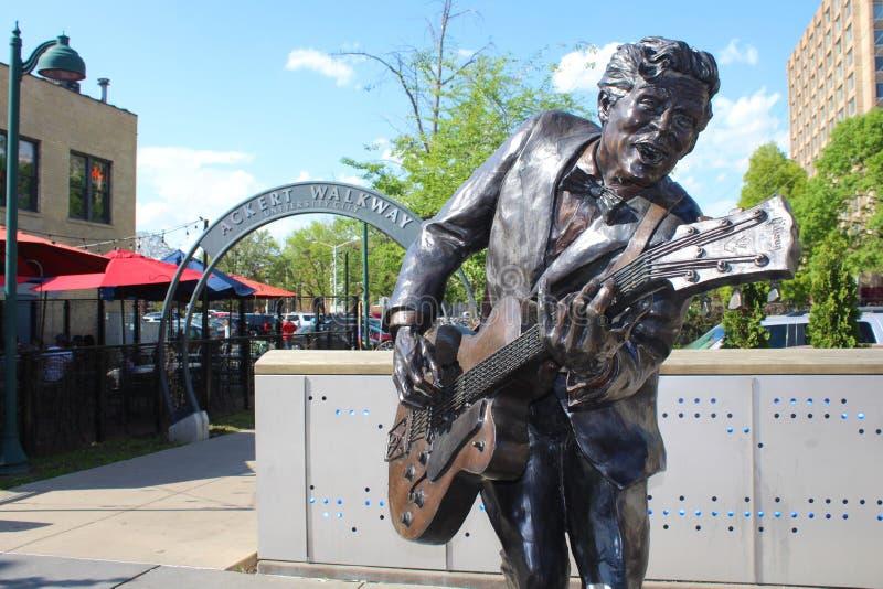 Chuck Berry statua, St Louis, Missouri zdjęcia royalty free