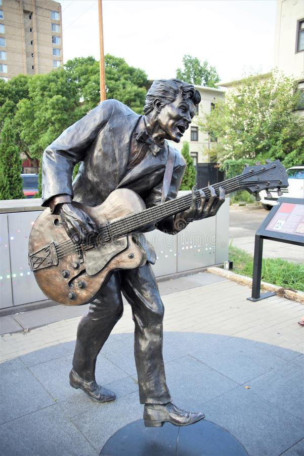 Chuck Berry Statue Isolated, St Louis Missouri imágenes de archivo libres de regalías