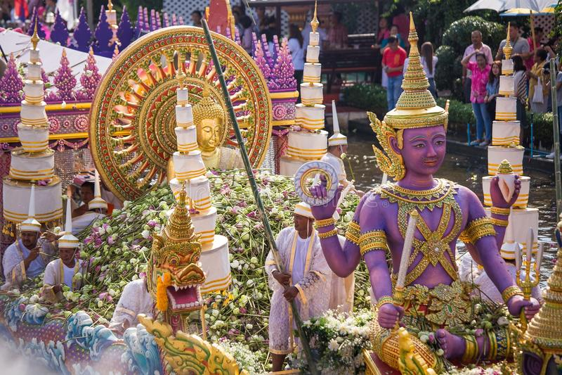 Chuck Bua Festival-de parade is een traditie van de plaatselijke bevolking in Samutprakan royalty-vrije stock fotografie
