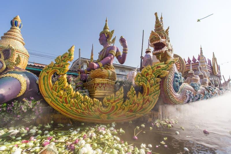 Chuck Bua Festival ståtar är en tradition av det lokala folket i Samutprakan royaltyfria bilder
