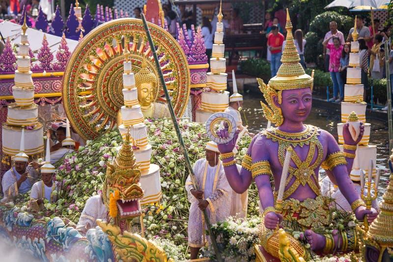 Chuck Bua Festival ståtar är en tradition av det lokala folket i Samutprakan royaltyfri fotografi