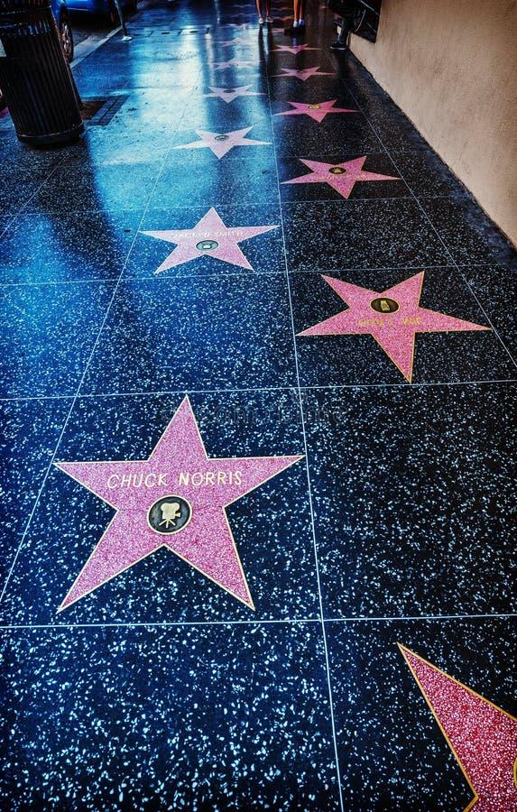 Chuck Norris-ster in Hollywood-gang van bekendheid royalty-vrije stock afbeelding