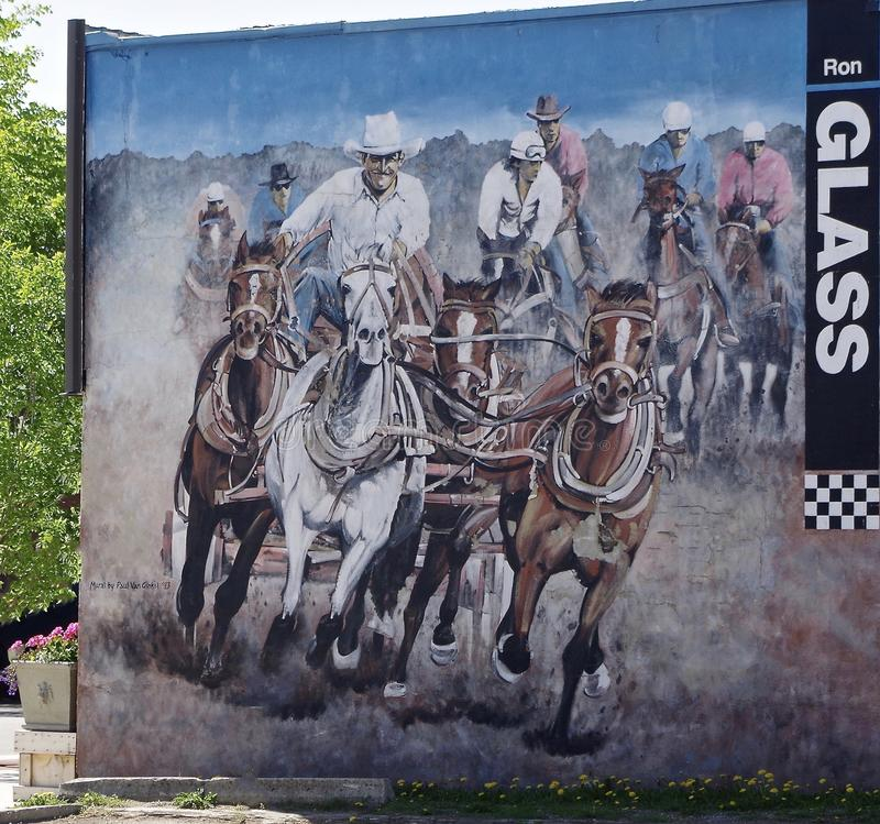 Chuckwagon Wall Mural Small Town Canada stock photo