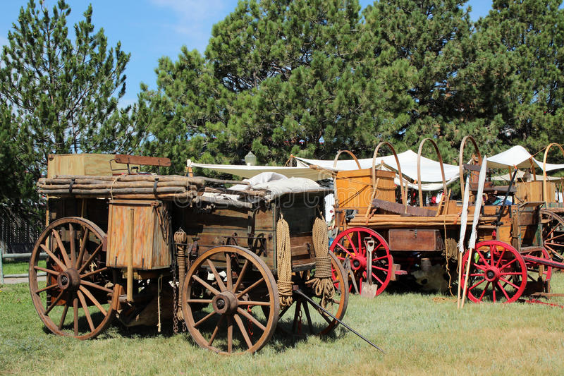 Chuckwagons. At Frontier Days in Cheyenne, Wyoming. Frontier Days is one of the largest rodeos in the world, and the chuckwagon cookoff is a popular event royalty free stock image