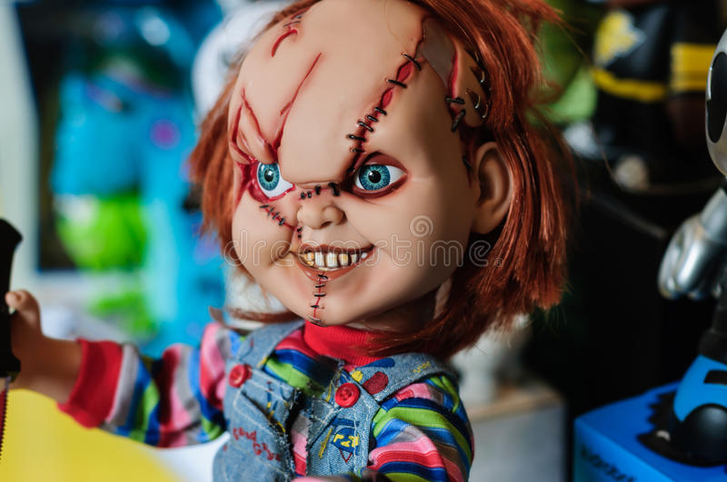 Chucky Figurine. Hyper realistic figurine of Chucky character from the movie The Child's Play on a sophisticated toy and collection shop royalty free stock photography
