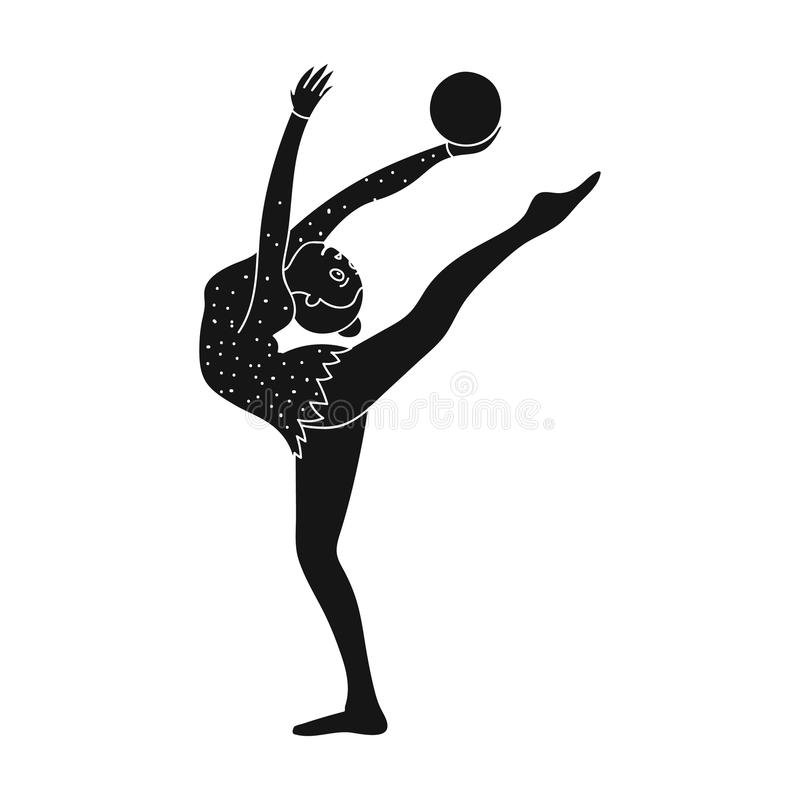 Chuderlawa dziewczyna z piłką w ręka tana sportach tanczy Dziewczyna angażuje w gimnastykach aktywni sporty przerzedżą ikonę w cz royalty ilustracja