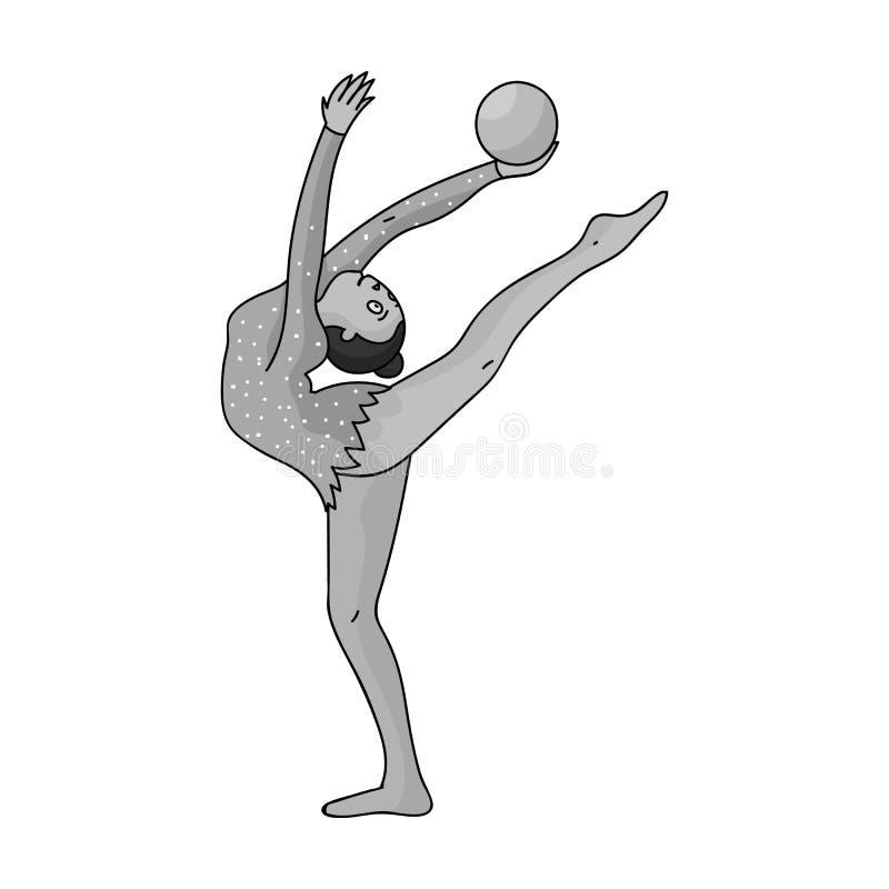 Chuderlawa dziewczyna z piłką w ręka tana sportach tanczy Dziewczyna angażuje w gimnastykach Olimpijscy sporty przerzedżą ikonę w royalty ilustracja