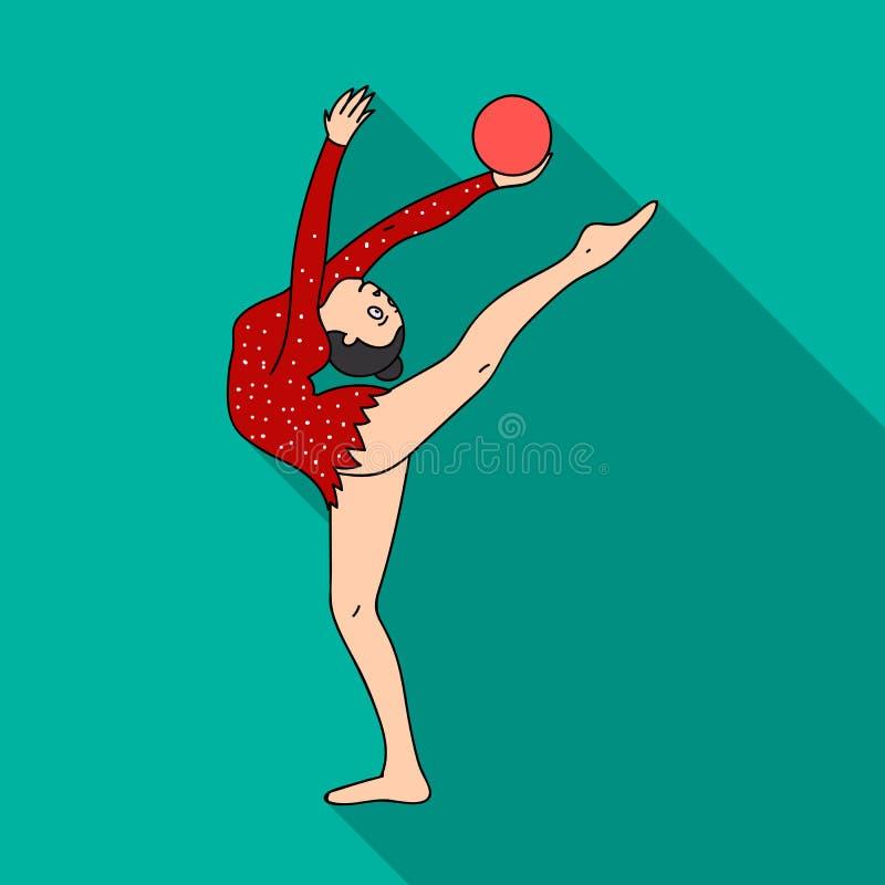 Chuderlawa dziewczyna z piłką w ręka tana sportach tanczy Dziewczyna angażuje w gimnastykach Olimpijscy sporty przerzedżą ikonę w ilustracja wektor