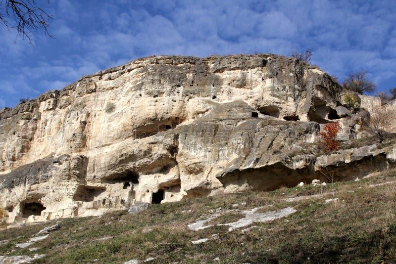 Chufut-couve antiga da cidade da caverna, Bakhchysarai, Crimeia fotografia de stock