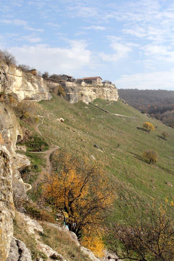 Chufut-couve antiga da cidade da caverna, Bakhchysarai, Crimeia fotos de stock royalty free