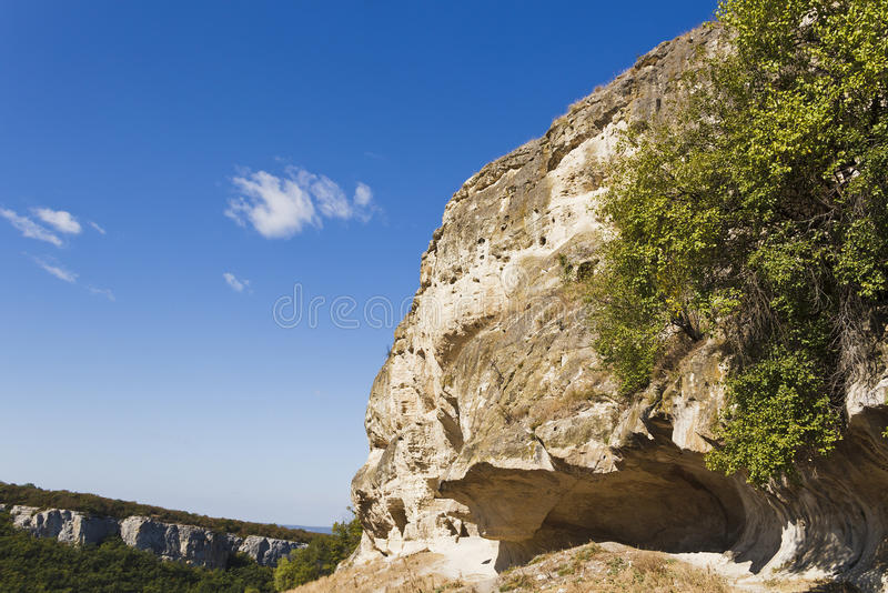 Chufut-Kale - a cave medieval city-fortress in the Crimea. Russia stock photos