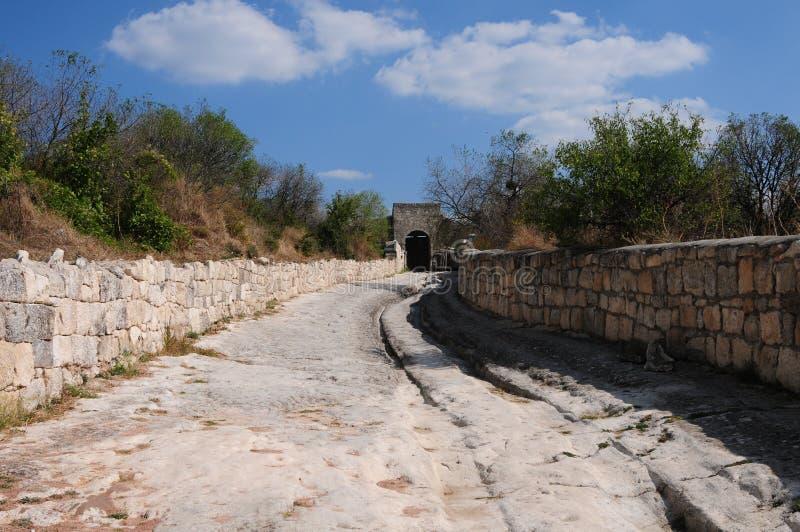 Chufut-Kale - uma cidade da caverna. fotografia de stock