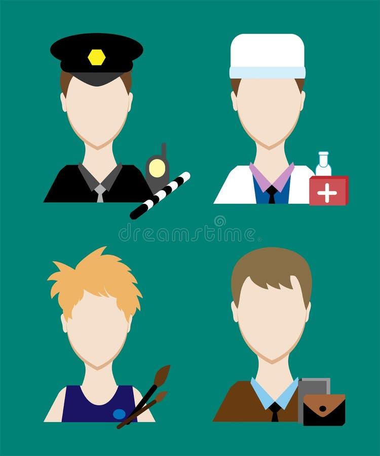 Chui dos povos da profissão, doutor, um artista, um homem de negócios Homens da cara uniformes Avatars no projeto liso ilustração do vetor