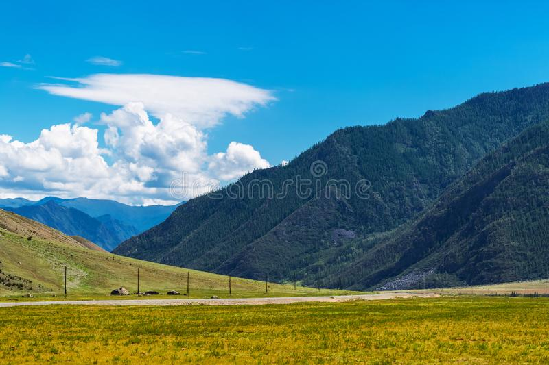 Chui tract surrounded by mountains. Gorny Altai, Russia stock photo