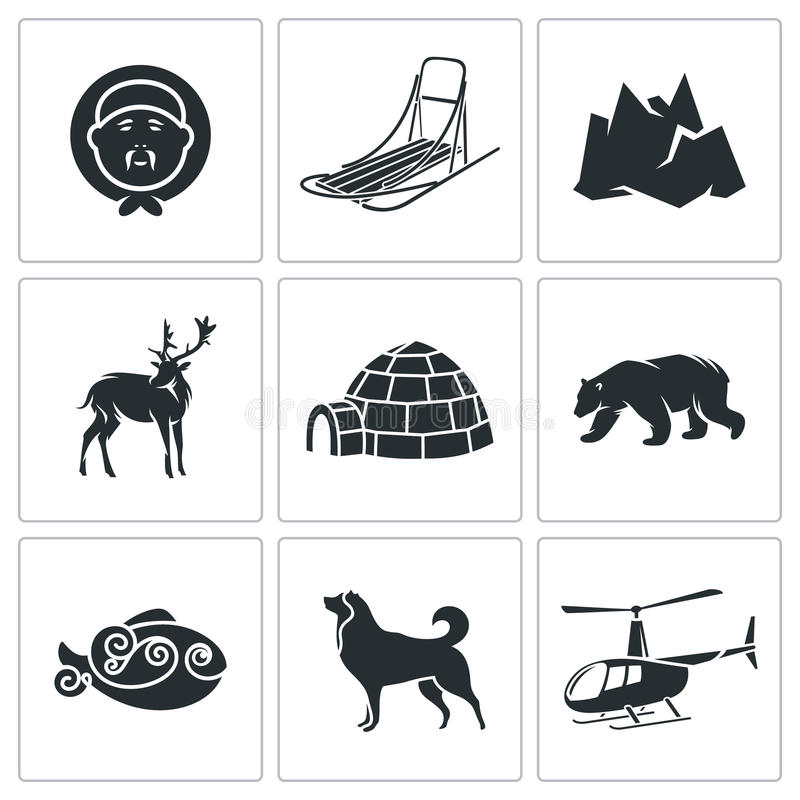 Chukchi and the Far North Vector Icons Set stock illustration