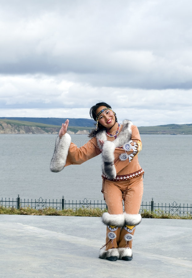 Chukchi woman. Dancing chukchi woman in the folk clothes royalty free stock image