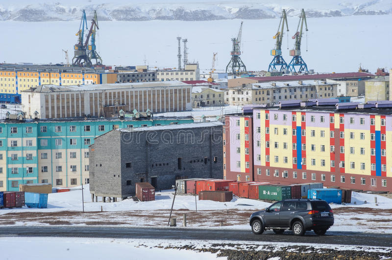Chukotka Pevek - the northernmost city in Russia. Housing estate royalty free stock photos