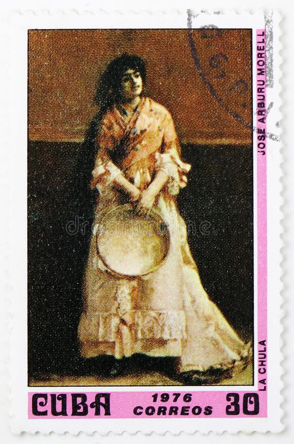 Chula by Jose Arburu Morell, Paintings from the National Museum serie, circa 1976. MOSCOW, RUSSIA - JULY 25, 2019: Postage stamp printed in Cuba shows La Chula stock photography