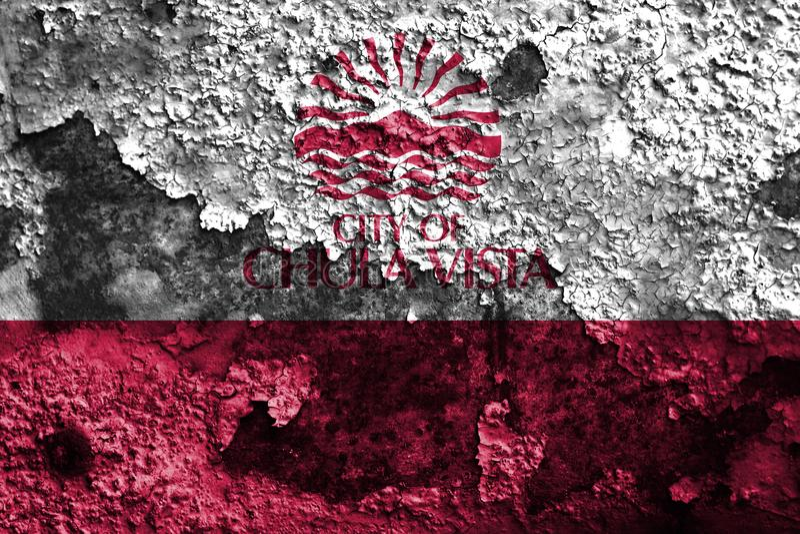 Chula- Vistastadtrauchflagge, Staat California, Vereinigte Staaten von stockfotografie