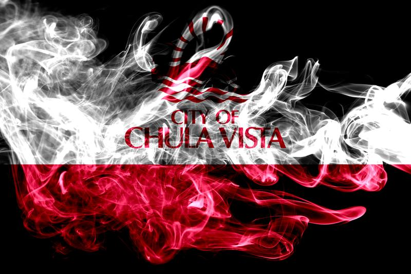 Chula- Vistastadtrauchflagge, Staat California, Vereinigte Staaten von stockbilder