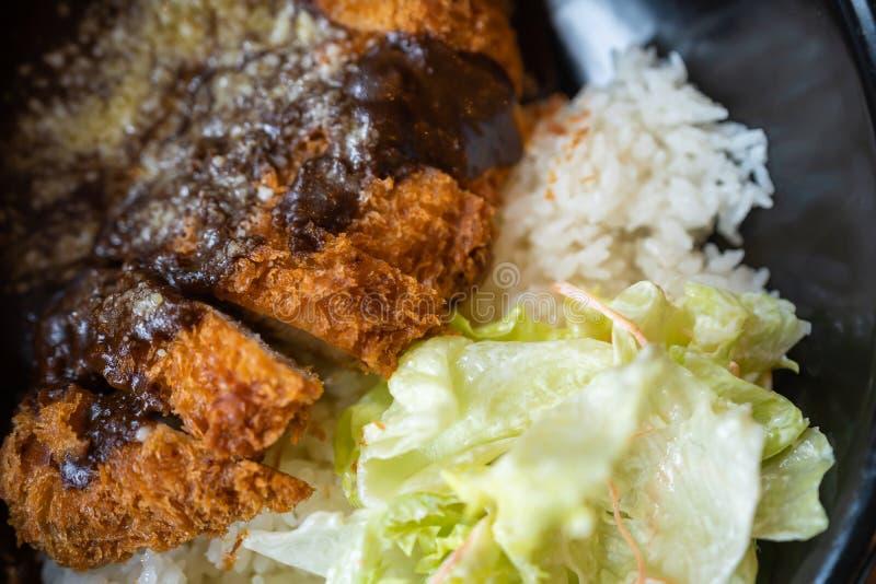 Chuleta frita curruscante del cerdo con arroz de curry fotos de archivo