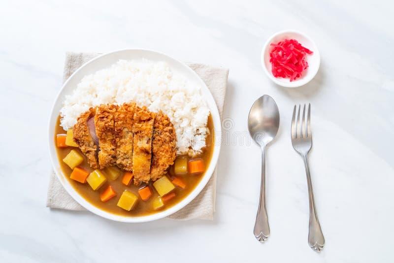 Chuleta frita curruscante del cerdo con curry y arroz imagen de archivo libre de regalías