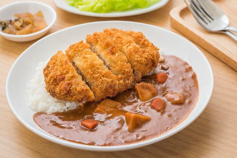Chuleta frita curruscante del cerdo con el curry y el arroz, comida japonesa imagen de archivo