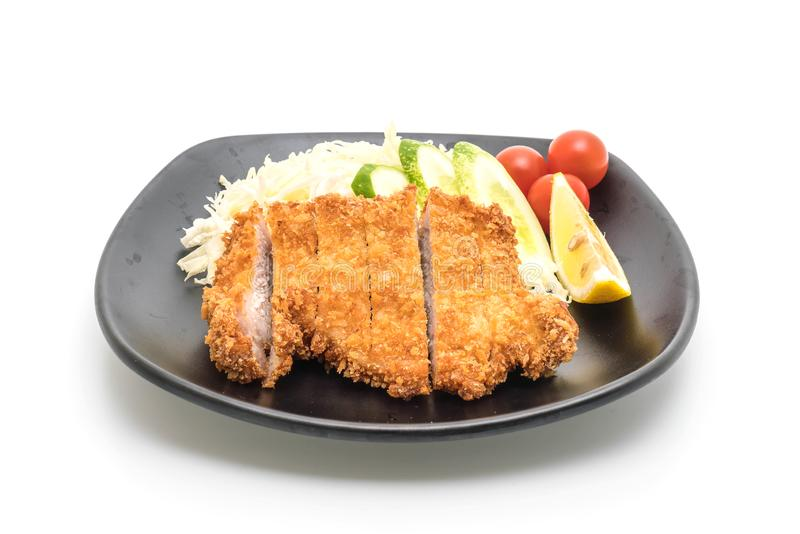 Chuleta frita japonesa del cerdo (sistema del tonkatsu imagen de archivo