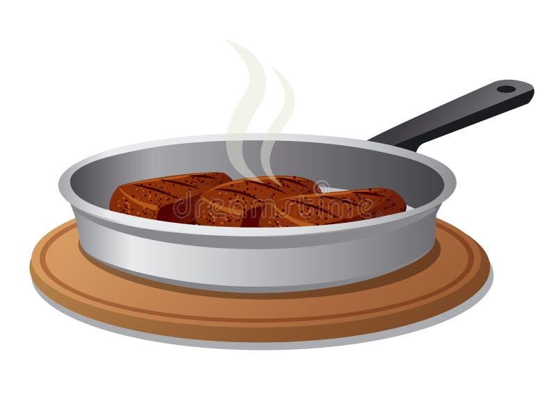 Chuletas calientes en la cacerola ilustración del vector