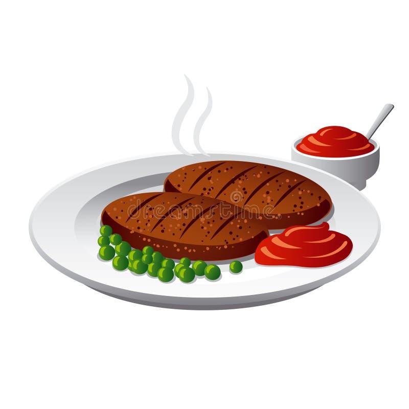 Chuletas con la salsa stock de ilustración