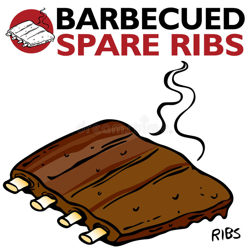 Chuletas de cerdo asadas a la parilla stock de ilustración