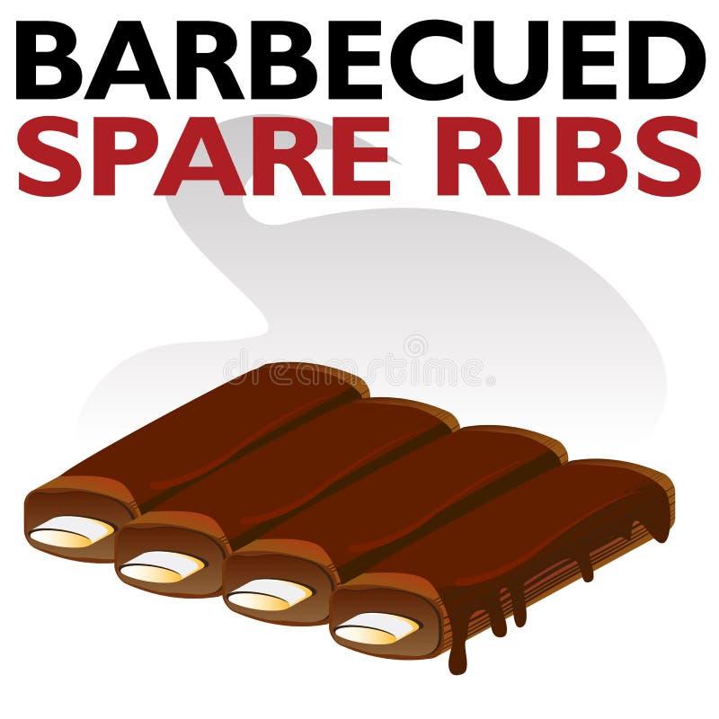 Chuletas de cerdo Sauced asadas a la parilla calientes libre illustration