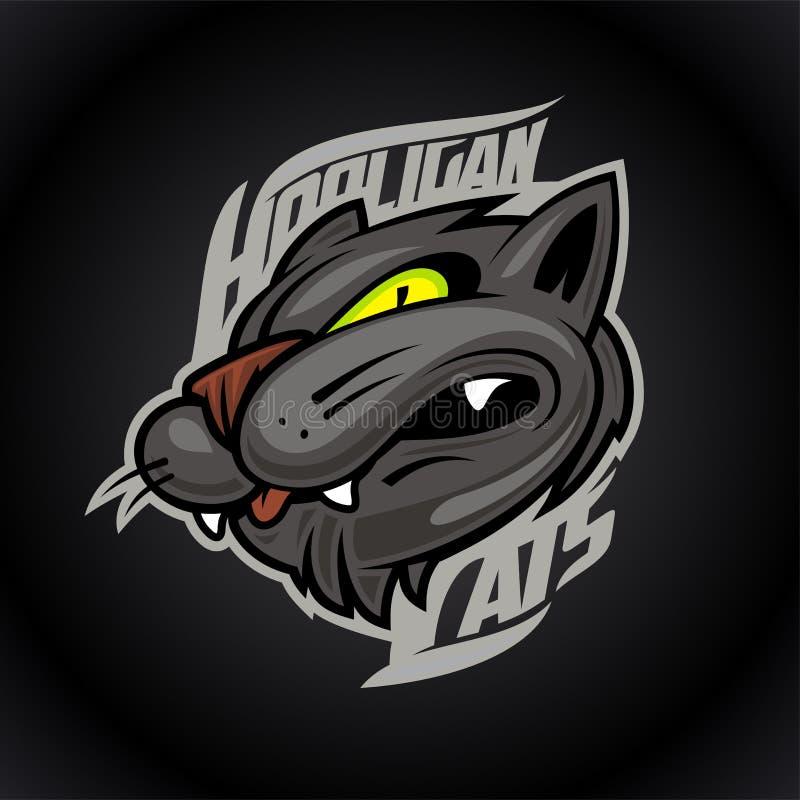 Chuligański kota logo projekta pojęcie na ciemnym tle, bawi się infographic drużynowego piktogram, koszulka trójnika druk ilustracji