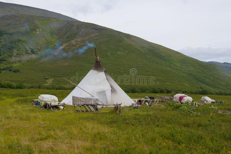 Chum nomadic reindeer herders in the foothills of the Ural. Russia royalty free stock image