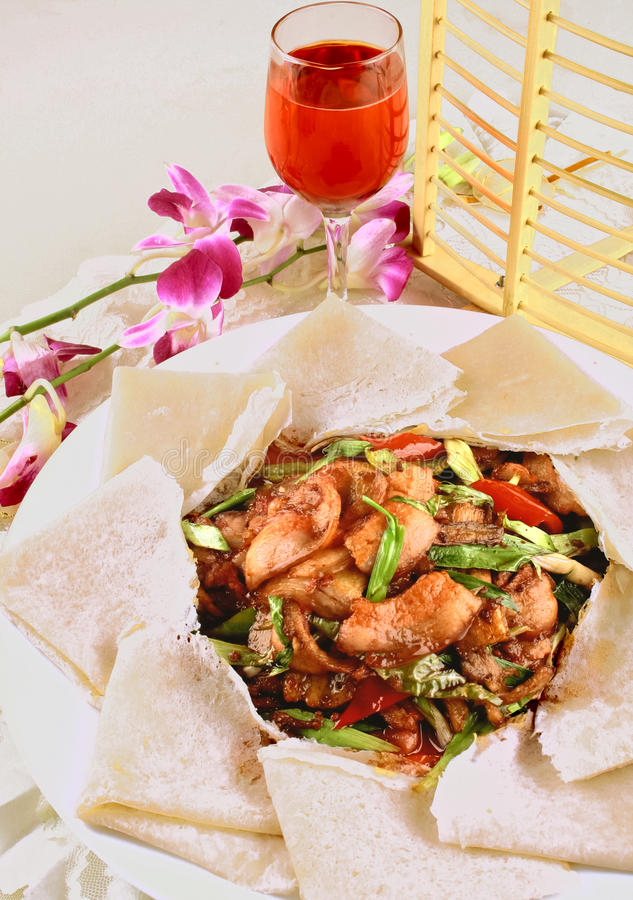 Chunbing e carne de porco duas vezes cozinhada fotos de stock