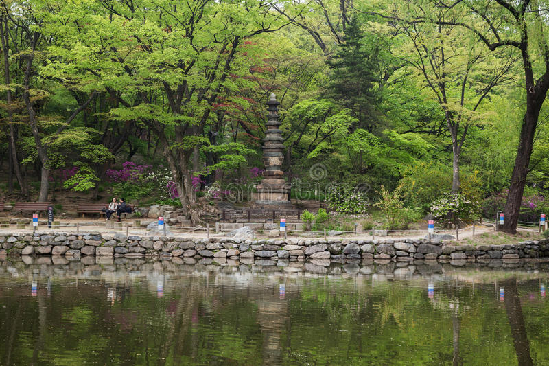 Chundangjivijver en pagode bij het Changgyeong-Paleis in Seoel stock fotografie