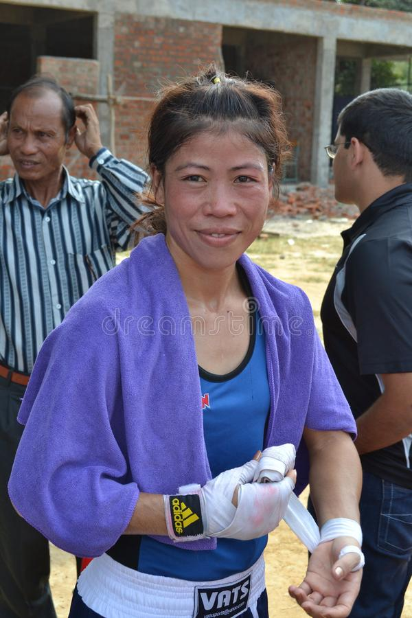 Mary Kom, is an Indian Olympic boxer stock image