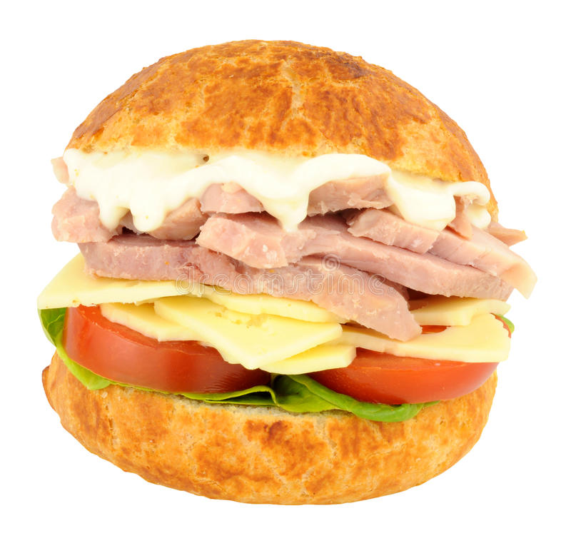Chunky Ham And Cheese Sandwich Roll imagem de stock royalty free
